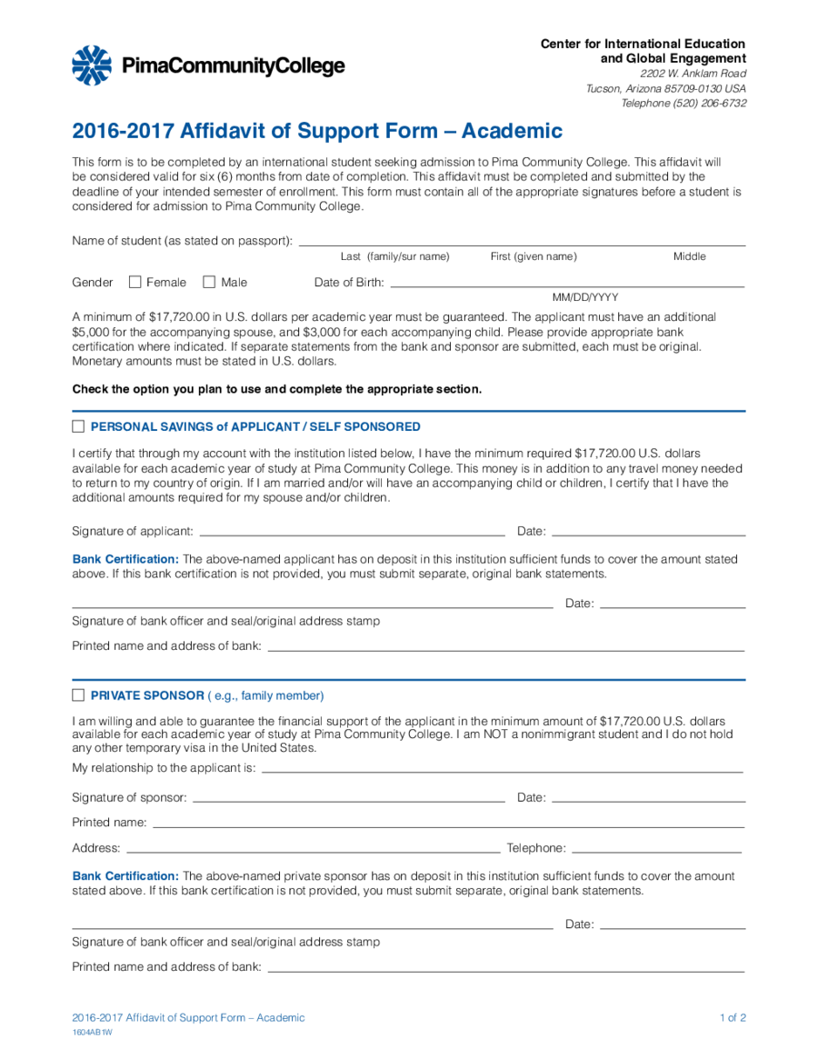 Affidavit Form Affidavit Definition – Affidavit of Support Form