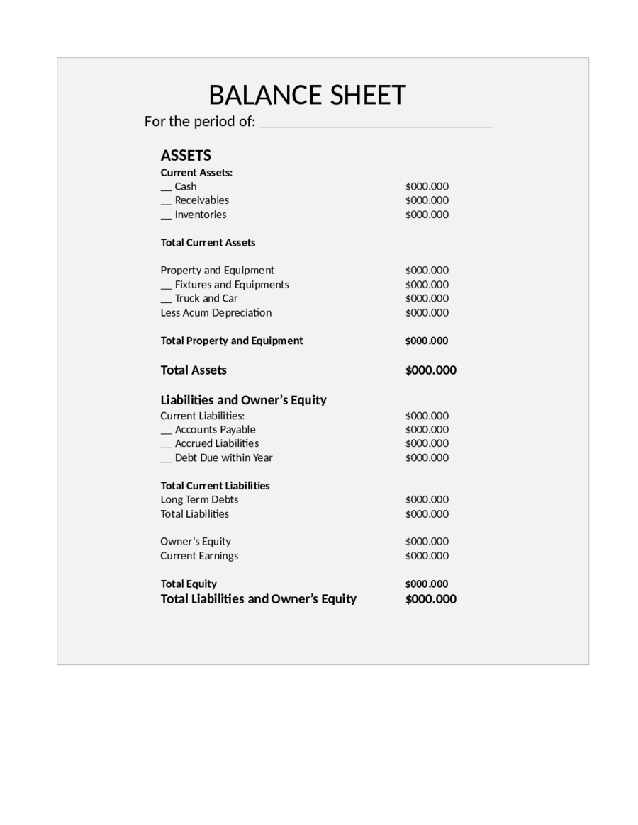 Balance Sheet Template Free Printable Balance Sheet Format – Accounting Balance Sheet Template