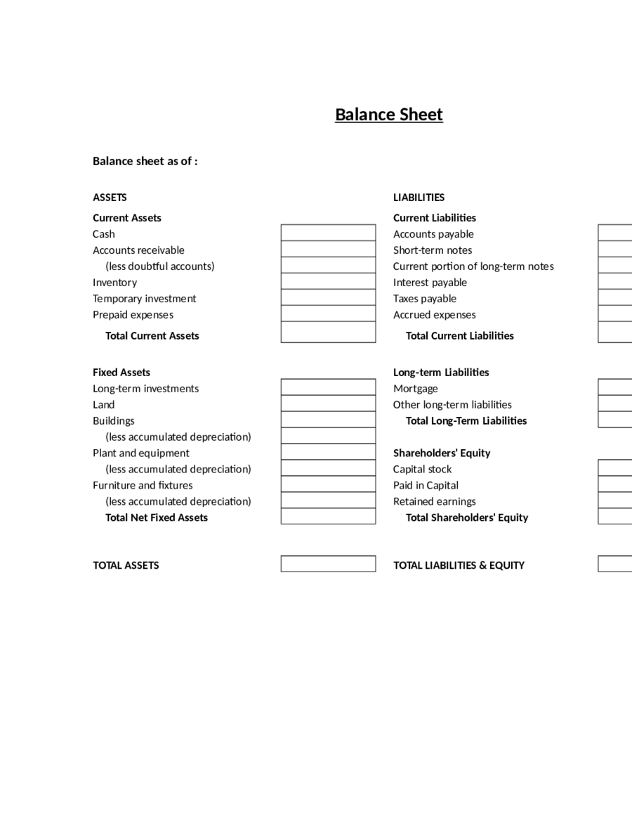 Balance Sheet Template Free Printable Balance Sheet Format – Personal Finance Balance Sheet Template