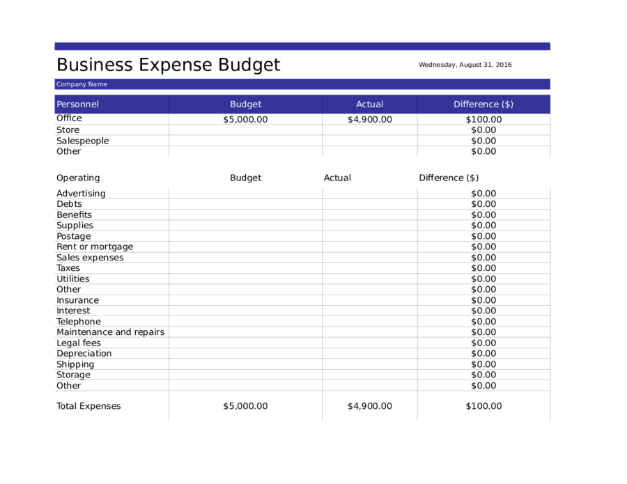 Business budget template 03