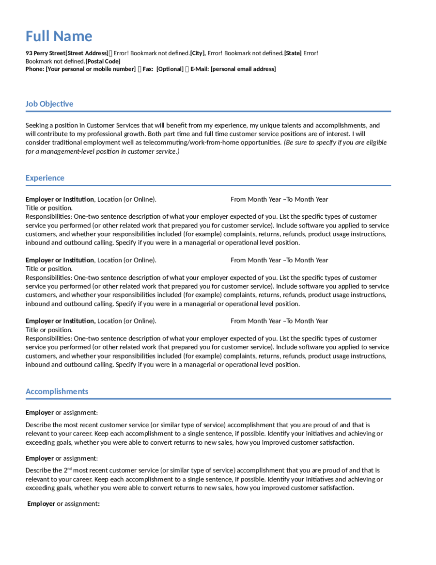 customer service resume example 01