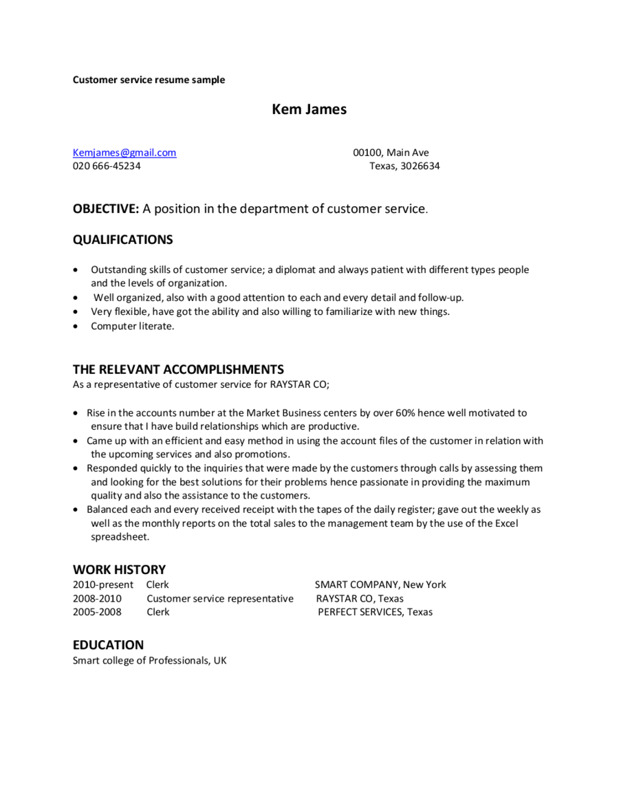 Customer Service Resume Sample Uk  Affordable Price