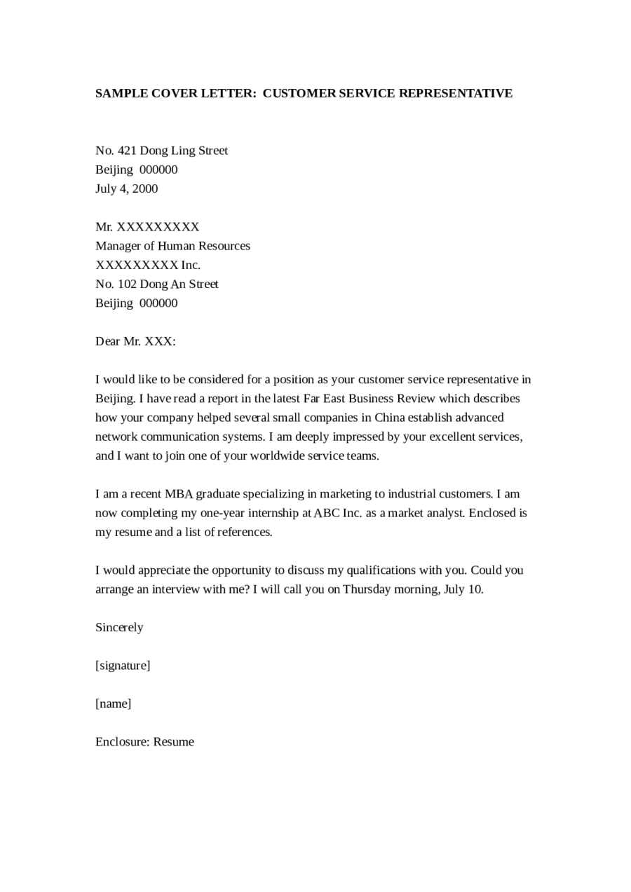Cover Letter For Customer Service Representative. Download ...