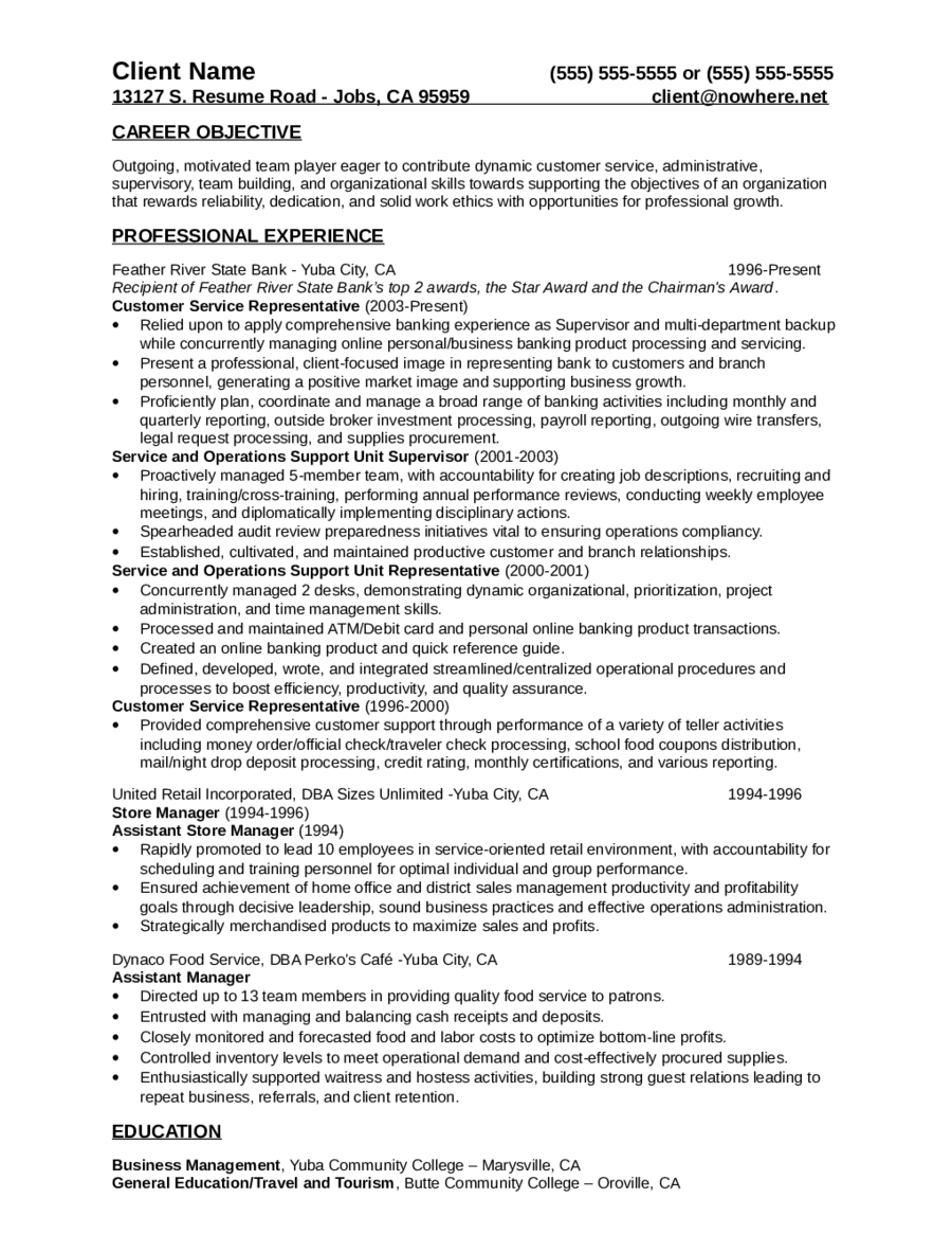 Customer Service Resume Free Customer Service Resume Templates – Objective for Resume for Customer Service