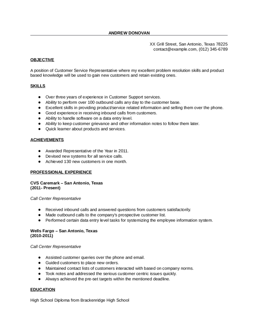 Professional customer service resume for Free resume examples for customer service