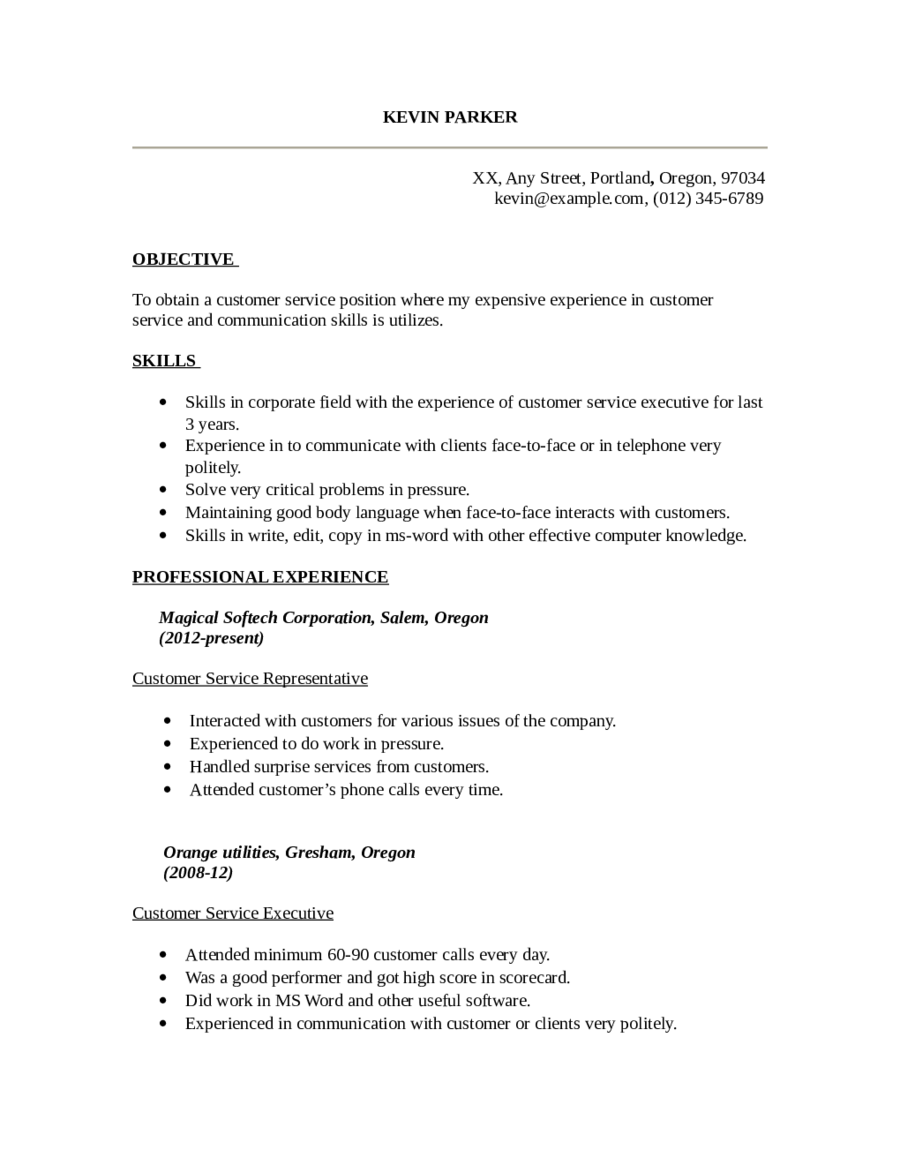 customer service resume template 04 - Customer Support Executive Resume