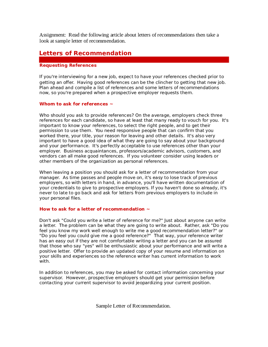 Reference Letter Sample Reference Letter Template – Employment Reference Letter