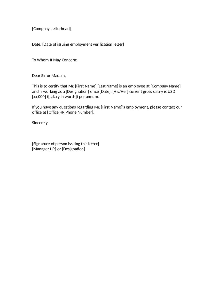Letter of employment verification template free
