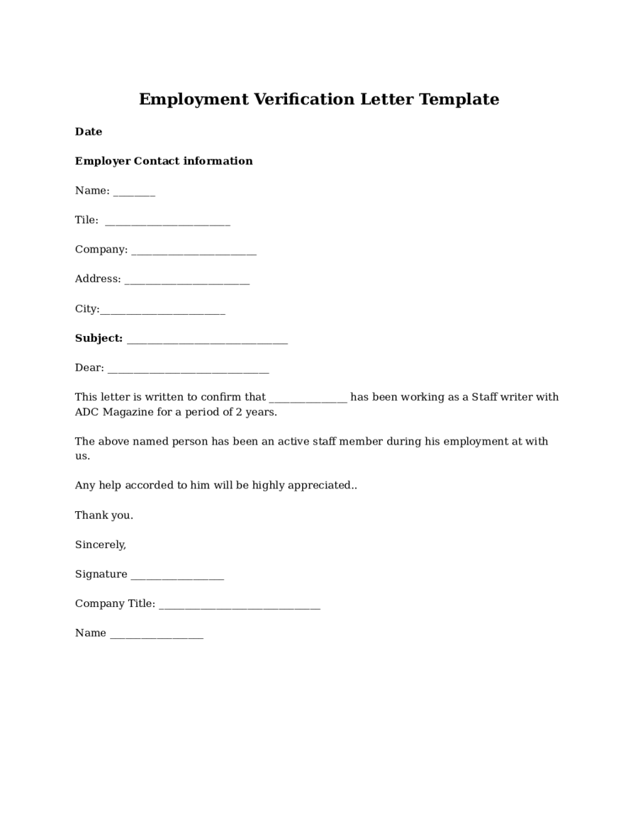 Proof of Employment Letter - Sample Employment Verification Letter ...