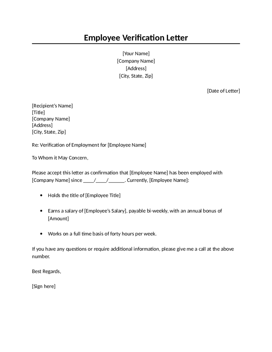 employment verification letter template 02 - Verification Of Employment Sample Letter