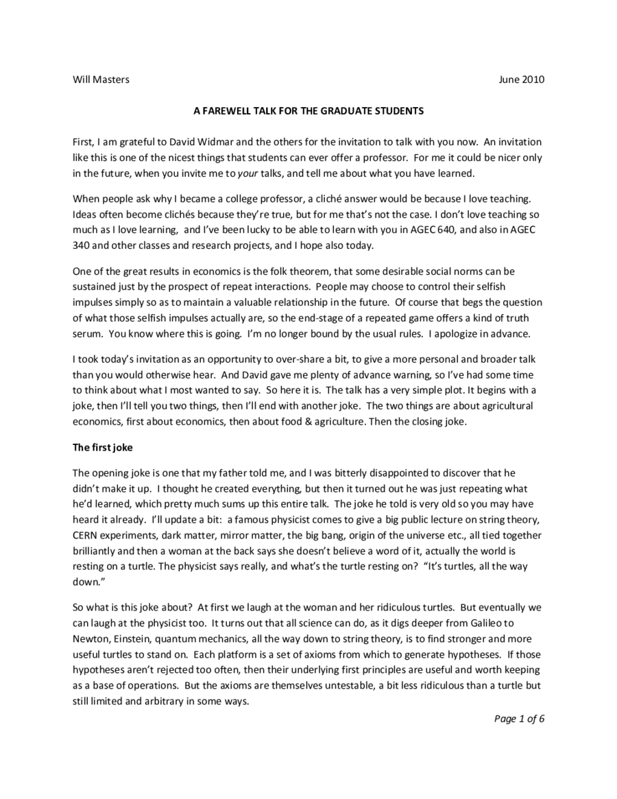 Farewell address essay