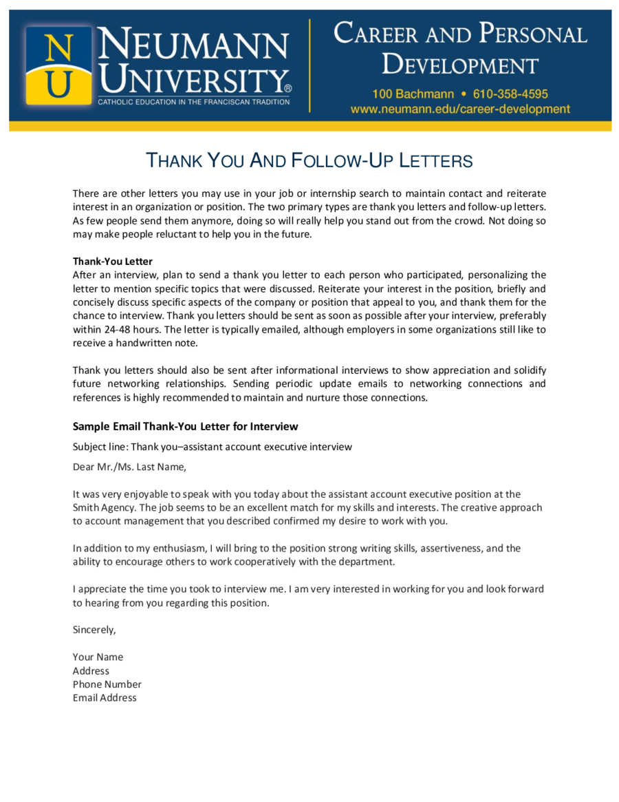 Thank You Letter After Interview Template Follow Up Letter After
