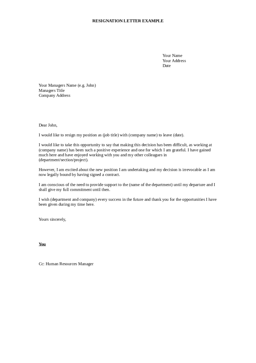 Resignation Letter Sample Resignation Letter Format – Formal Resignation Letters