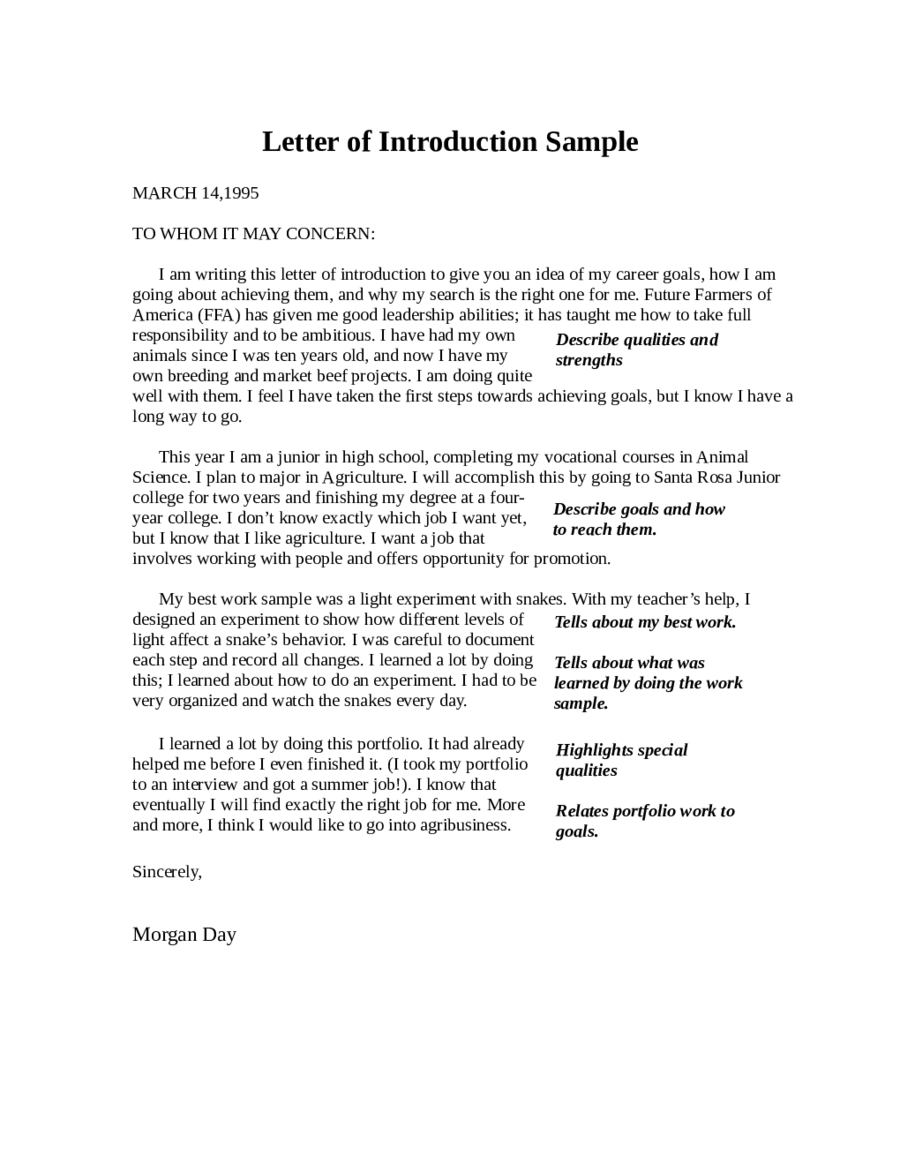 Introductory Letter For Job Letter Of Introduction How To Write An