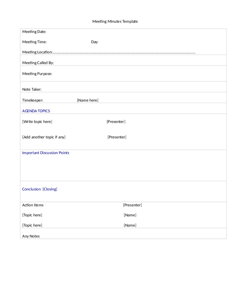Meeting Minutes Template Minutes of Meeting Format Template – Minutes Example