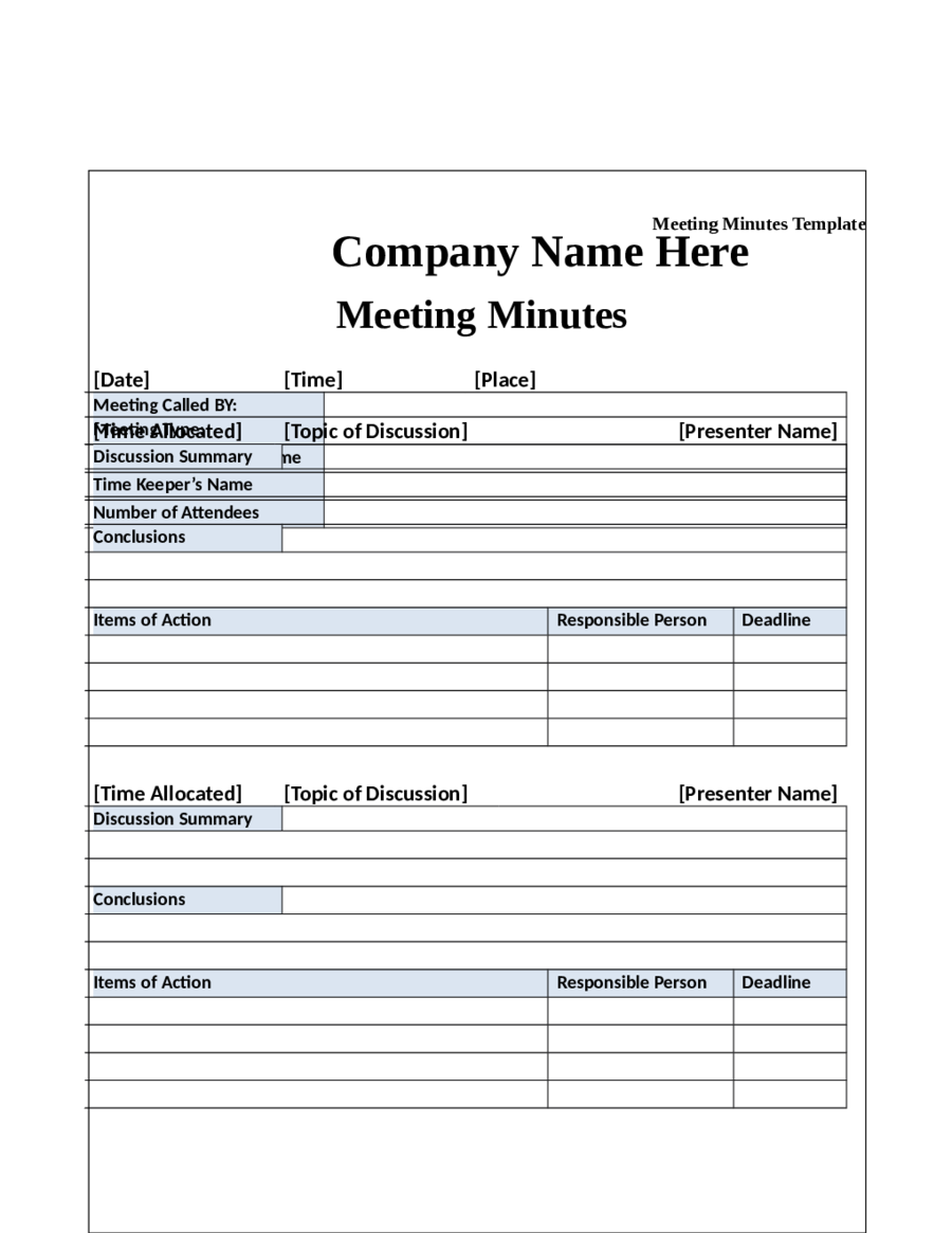 Meeting Minutes Template Minutes of Meeting Format Template – Attendees List Template