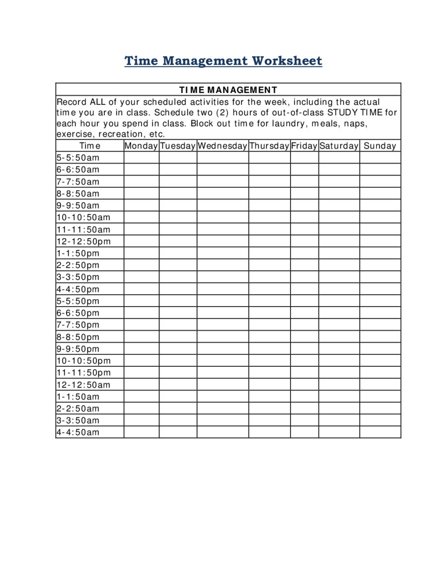 Time Management How to Manage Time – Evaluation and Management Worksheet