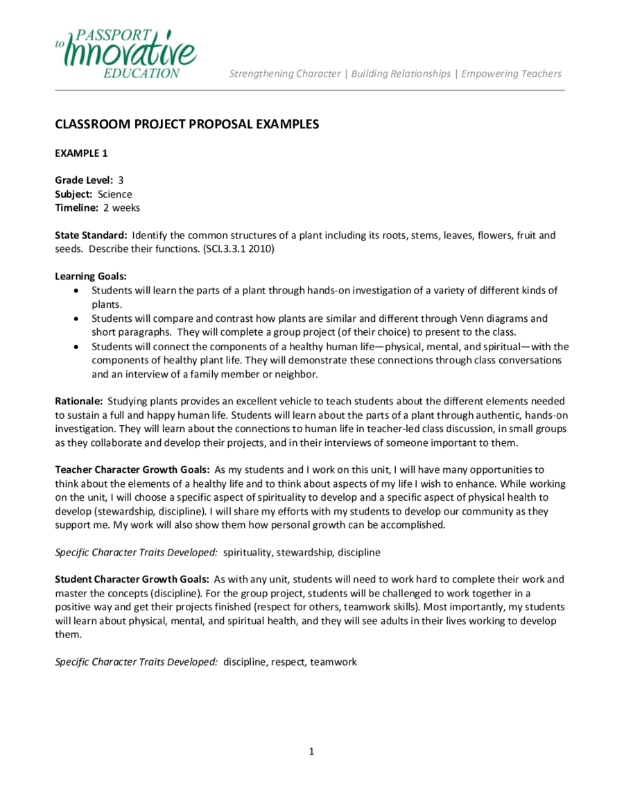 Project Proposal Template How to Write a Project Proposal – Project Proposal Example