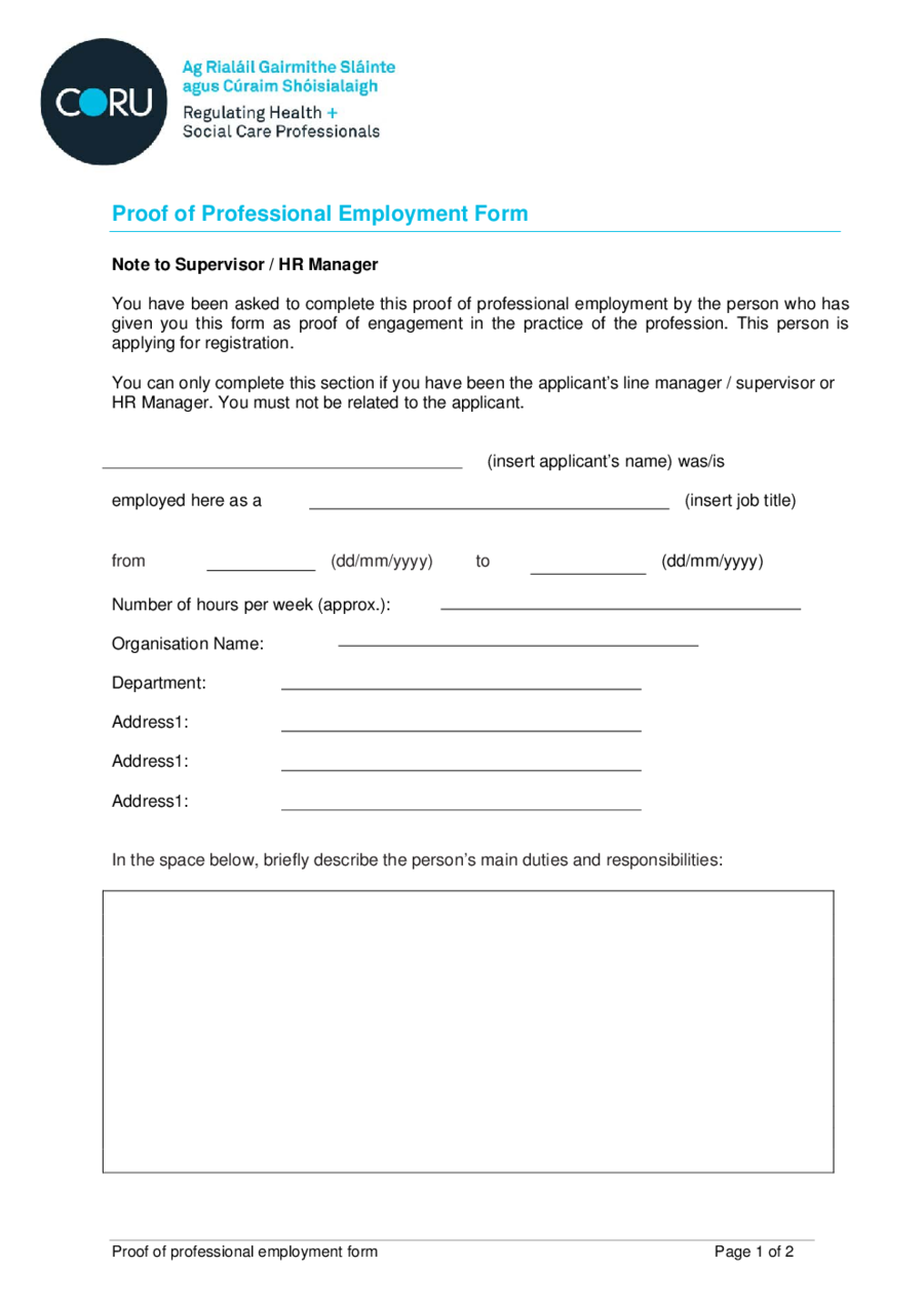 proof of employment letter sample employment verification letter proof of employment form 02