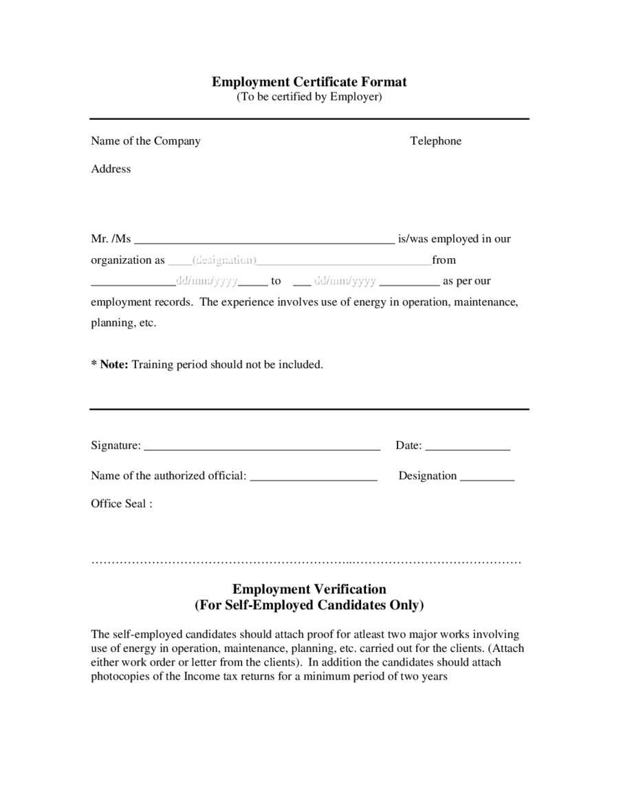Proof of Employment Letter Sample Employment Verification Letter – Employer Certificate Format