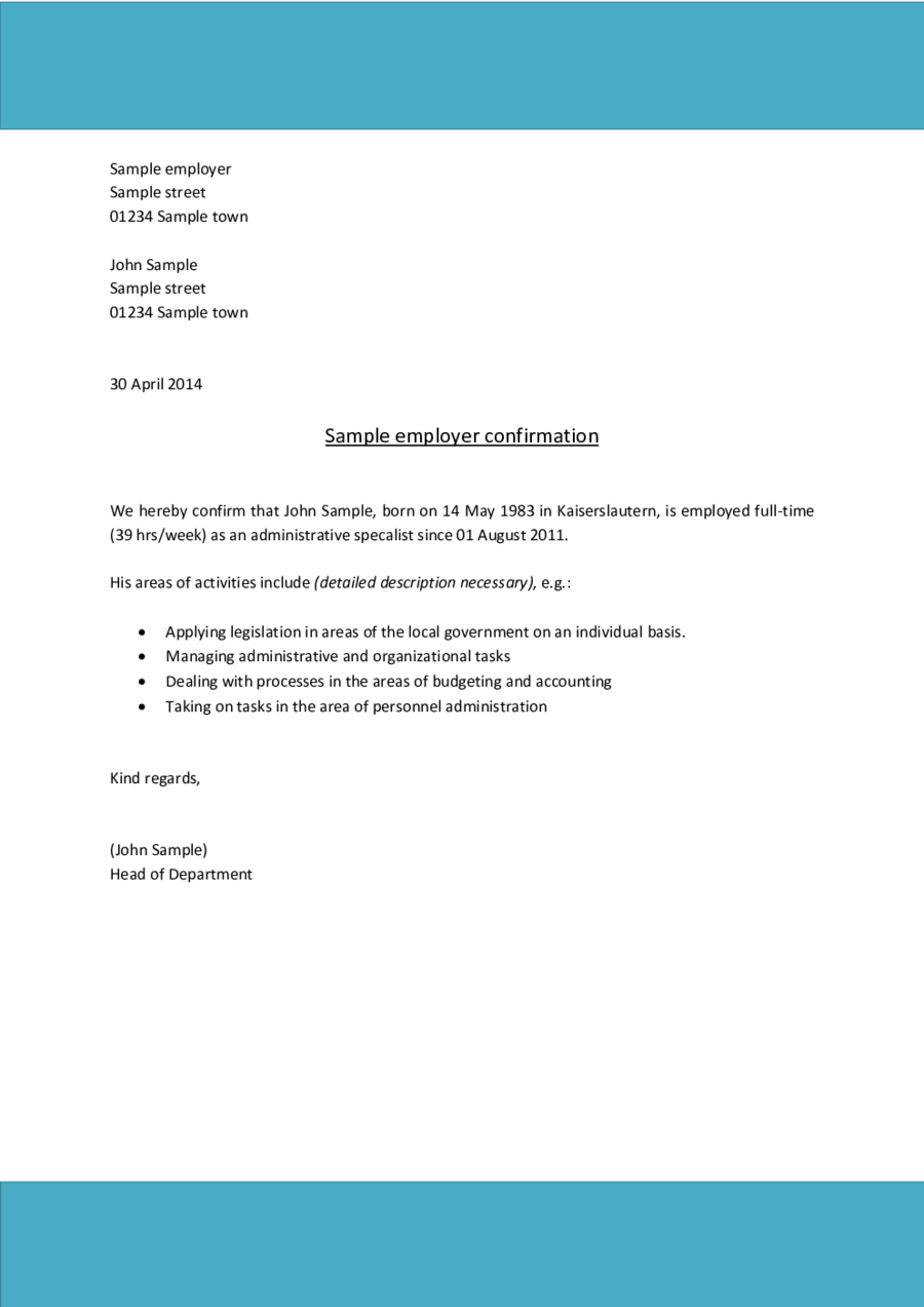proof of employment letter sample 02 - Verification Of Employment Sample Letter