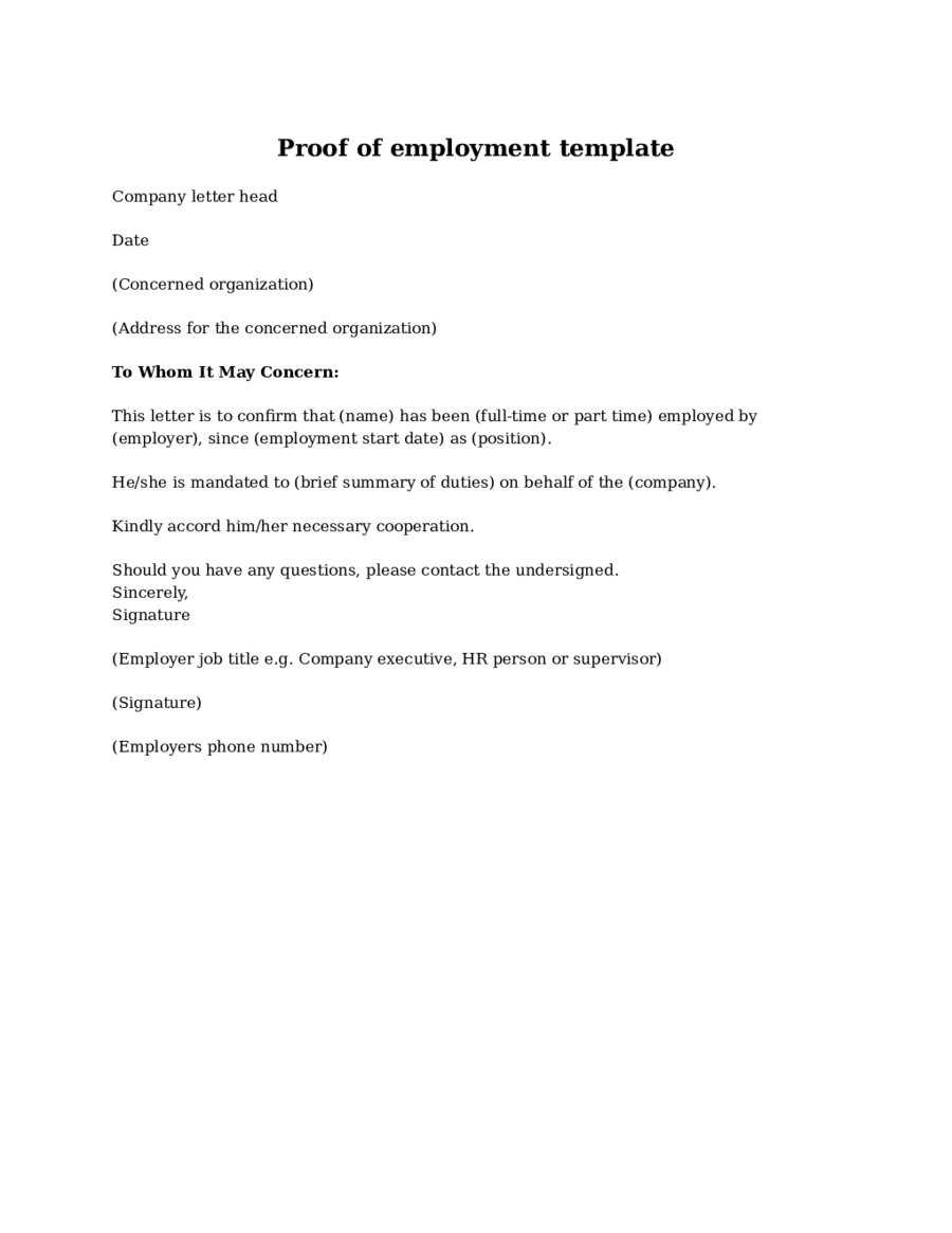 Proof Of Employment Letter Template Atarprod Info