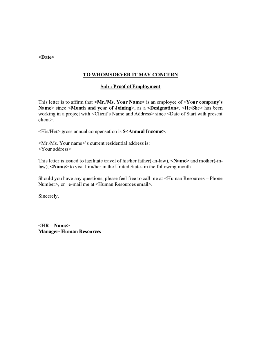 proof of employment letter template 03 - Employment Proof Letter