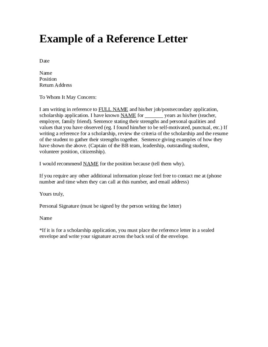 personal letter of reference doc personal letter of reference format