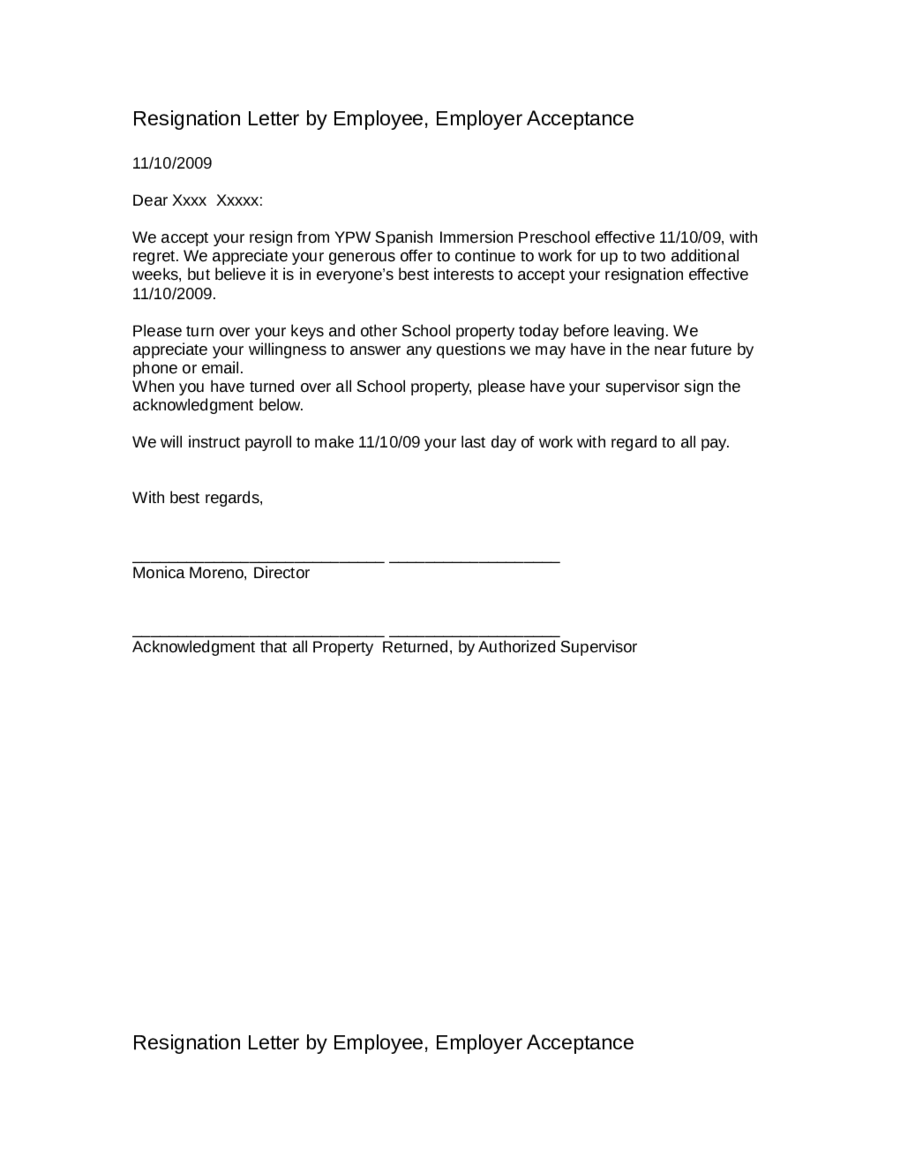 Exit Letter To Employer Resignation Letter Sample Resignation Letter