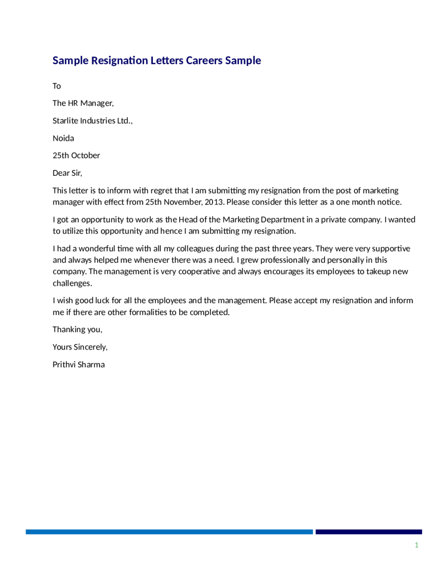 Resignation Letter Sample Resignation Letter Format – Resignation Letter Without Notice