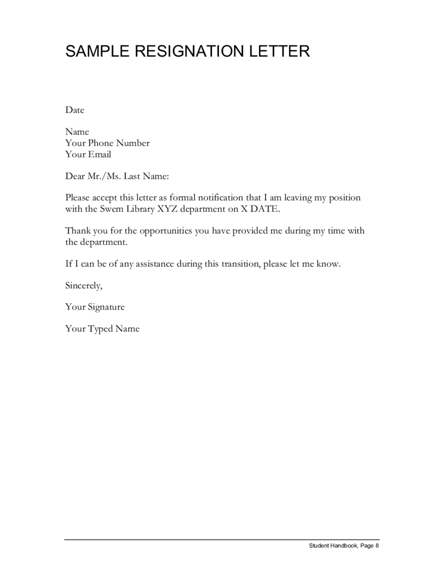 Resignation Letter Template – Template for Resignation Letter Sample