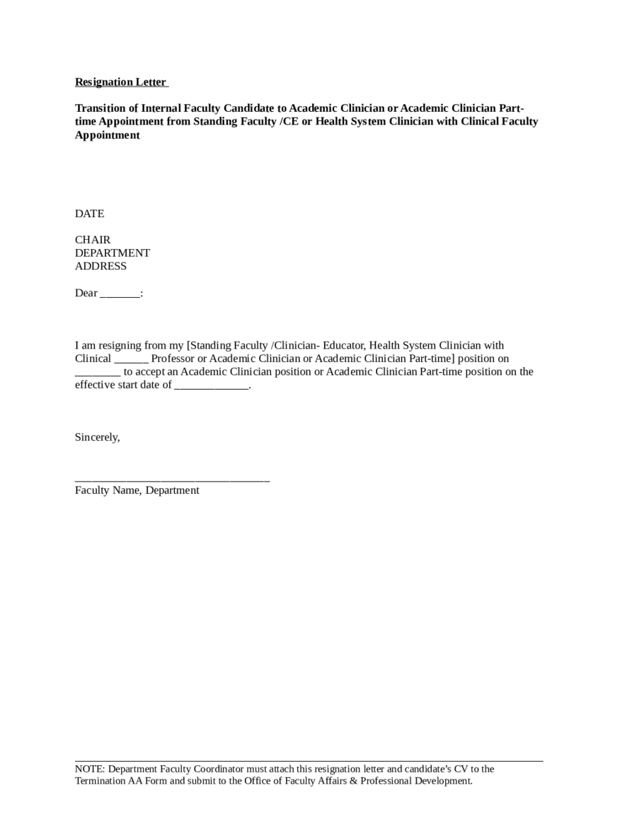 Resignation Letter - Sample Resignation Letter Format