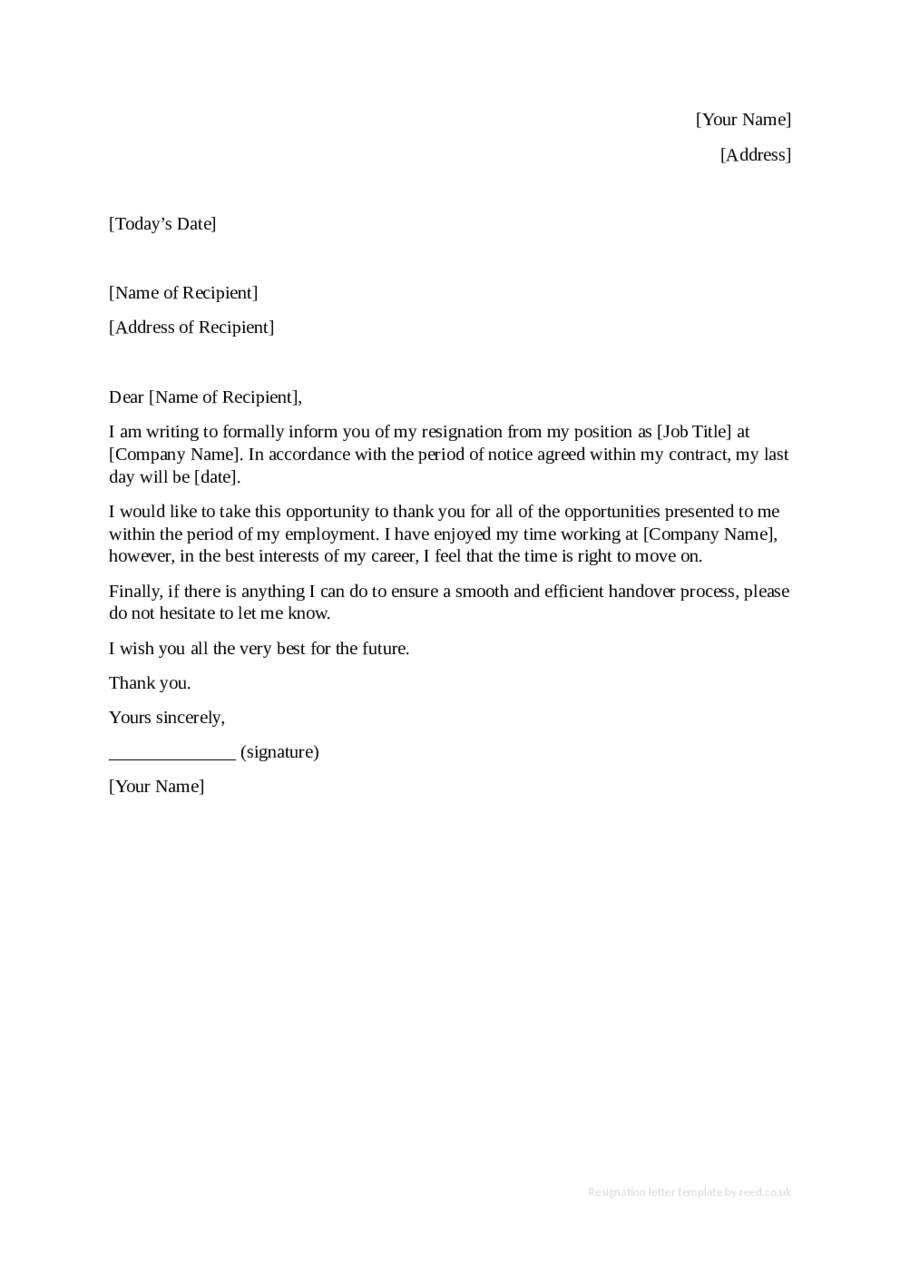 Resignation Letter Sample Resignation Letter Format – Letter to Resign from a Position