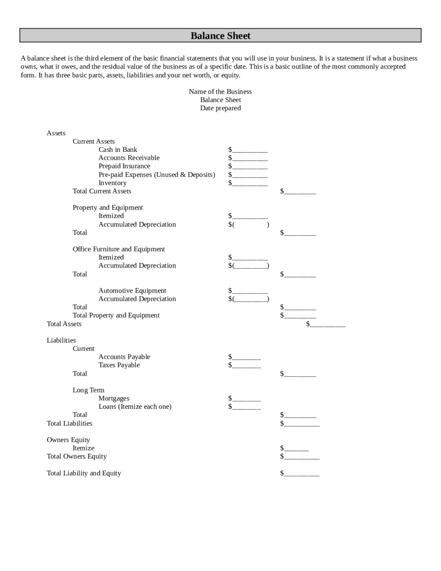 Balance Sheet Template Free Printable Balance Sheet Format – Asset and Liability Statement Template